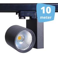 10x 30W LED Track Spot Spirit Zwart 3000K Warmwit + 10m rails