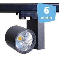 6x 30W LED Track Spot Spirit Zwart 3000K Warmwit + 6m rails