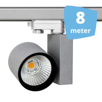 8x 30W LED Track Spot Spirit Grijs 3000K Warmwit + 8m rails