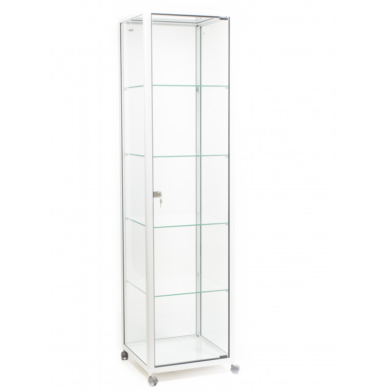 Vitrinekasten Glas Tweedehands.Dustproof Italiaanse Glazen Glossy Vitrinekast Wit Smal Op Wielen