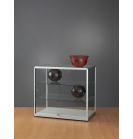 Luxe vitrinekast aluminium 100 cm met chromen hoekstukken
