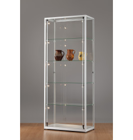 Luxe vitrinekast aluminium 80 cm met draaideur en halogeen verlichting