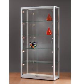 Luxe vitrinekast aluminium 100 cm met schuifdeuren