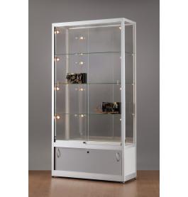 Luxe vitrinekast aluminium 100 cm met chromen afwerking en verstelbaar halogeen verlichting