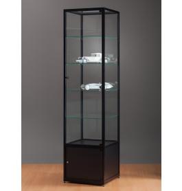 Luxe vitrinekast zwart 50 cm met onderkast