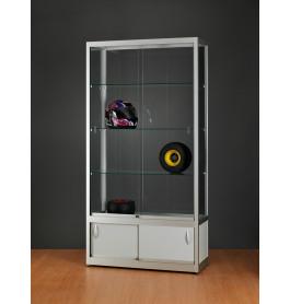 Luxe vitrinekast aluminium 100 cm met onderkast