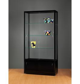 Luxe vitrinekast zwart 100 cm met onderkast
