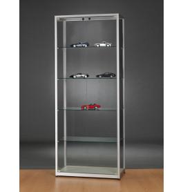 Luxe vitrinekast aluminium 80 cm met glas en twee draaideuren front