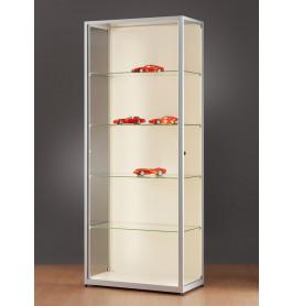 Luxe vitrinekast aluminium 80 cm met achterwand en LED-verlichting