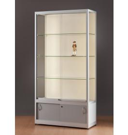 Luxe vitrinekast aluminium 100 cm met achtergrond en onderkast