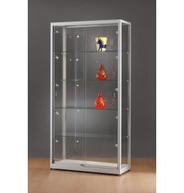 Luxe vitrinekast aluminium 100 cm met LED-verlichting en deuren