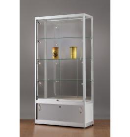 Luxe vitrinekast aluminium 100 cm met onderkast en LED-verlichting