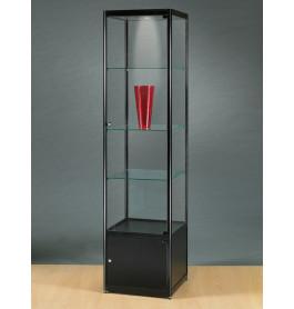 Luxe vitrinekast zwart 50 cm met onderkast en halogeen verlichting