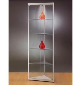 Luxe vitrinekast hoek aluminium 50 cm met halogeen verlichting