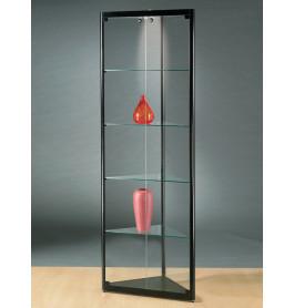 Luxe vitrinekast hoek zwart 50 cm met halogeen verlichting