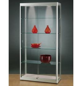 Luxe vitrinekast aluminium 100 cm met schuifdeuren front