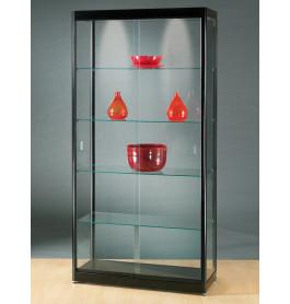Luxe vitrinekast zwart 100 cm met schuifdeuren front