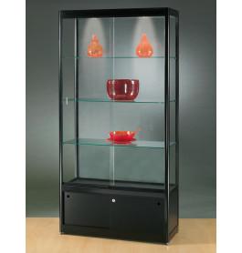 Luxe vitrinekast zwart 100 cm met onderkast en halogeen verlichting