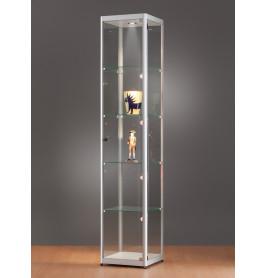 Luxe vitrinekast aluminium 40 cm met verstelbaar halogeen verlichting in plafond