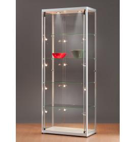 Luxe vitrinekast aluminium 80 cm met halogeen verlichting