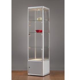 Luxe vitrinekast aluminium 50 cm met onderkast en verstelbaar halogeen verlichting in plafond
