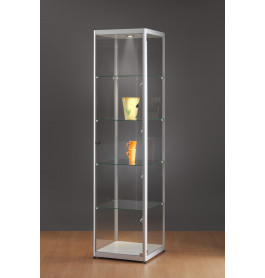 Luxe vitrinekast aluminium 50 cm met LED-verlichting