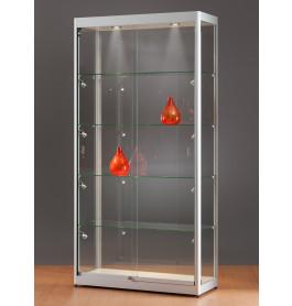 Luxe vitrinekast aluminium 100 cm met LED-verlichting