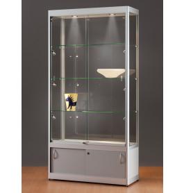 Luxe vitrinekast aluminium 100 cm met onderkast en deurtjes
