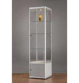 Luxe vitrinekast aluminium 50 cm met onderkast en LED-verlichting