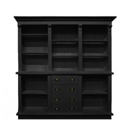 Zwarte winkelkast van 200 cm breed met lades