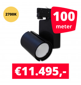 LED Railverlichting Baron Black 2700K 100 spots + 100M rails