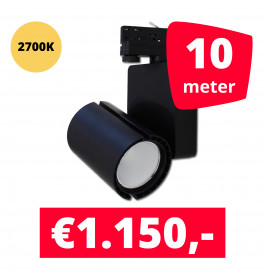 LED Railverlichting Baron Black 2700K 10 spots + 10M rails