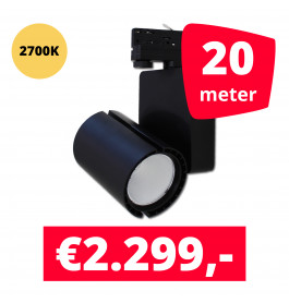 LED Railverlichting Baron Black 2700K 20 spots + 20M rails