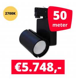 LED Railverlichting Baron Black 2700K 50 spots + 50M rails