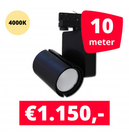 LED Railverlichting Baron Black 4000K 10 spots + 10M rails
