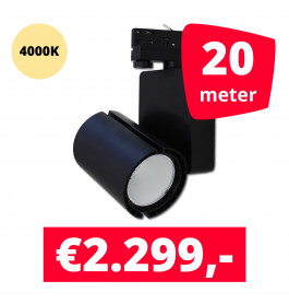 LED Railverlichting Baron Black 4000K 20 spots + 20M rails