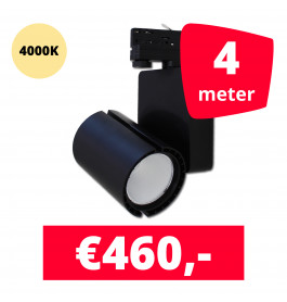 LED Railverlichting Baron Black 4000K 4 spots + 4M rails