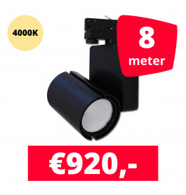 LED Railverlichting Baron Black 4000K 8 spots + 8M rails