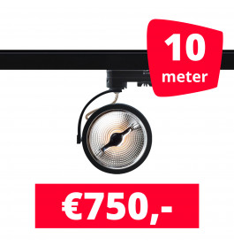 10X LED Track Spot AR 111 Zwart 2700K Extra Warmwit + 10M Rails
