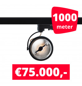 1000X LED Track Spot Barra Zwart Dim-To-Warm + 1000M Rails