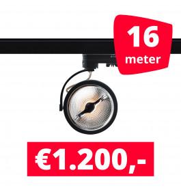 16X LED Track Spot AR 111 Zwart 2700K Extra Warmwit + 16M Rails