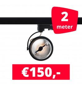 2X LED Track Spot AR 111 Zwart 2700K Extra Warmwit + 2M Rails
