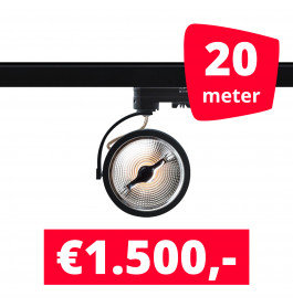 20X LED Track Spot Barra Zwart Dim-To-Warm + 20M Rails