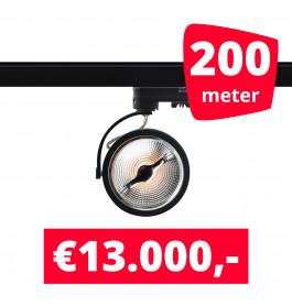200X LED Track Spot AR 111 Zwart 2700K Extra Warmwit + 200M Rails