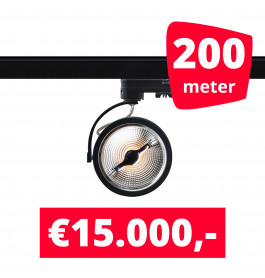 200X LED Track Spot Barra Zwart Dim-To-Warm + 200M Rails