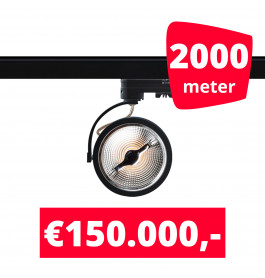 2000X LED Track Spot AR 111 Zwart 2700K Extra Warmwit + 2000M Rails
