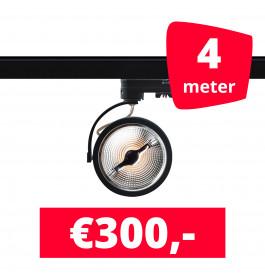 4X LED Track Spot AR 111 Zwart 2700K Extra Warmwit + 4M Rails