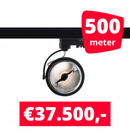 500X LED Track Spot Barra Zwart Dim-To-Warm + 500M Rails