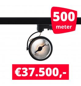 500X LED Track Spot AR 111 Zwart 2700K Extra Warmwit + 500M Rails