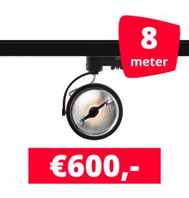 8X LED Track Spot AR 111 Zwart 2700K Extra Warmwit + 8M Rails